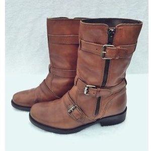 J. Crew Miller Camel Leather Moto Boots